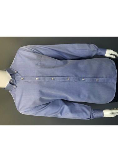 Abbate Düğmelı Yaka Armürlü Regularfıt Ceplı Gömlek Mavi